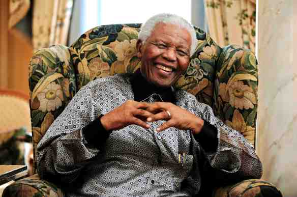 File photo of former South African president Mandela in central London
